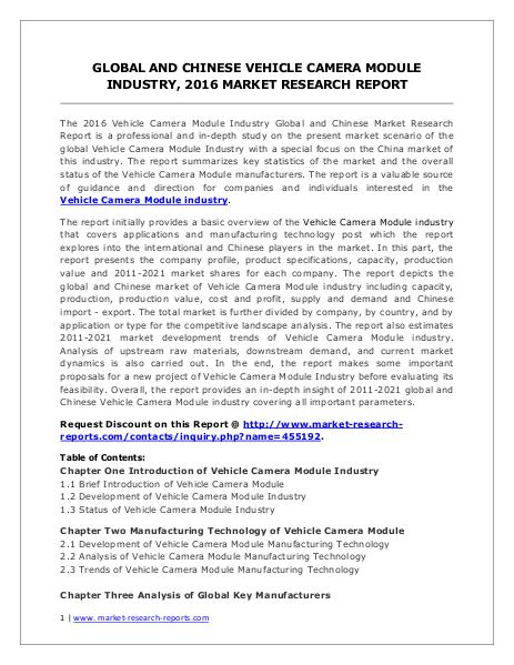 Vehicle Camera Module Industry Current Market Dynamics Forecasts 2021 Market Research Report