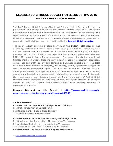 Budget Hotel Market Revenue and Growth Rate Forecasts to 2021 Jun. 2016