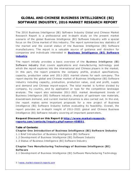 Business Intelligence (BI) Software Market Trends Forecasts to 2021 Jun. 2016