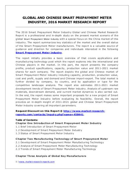 Smart Prepayment Meter Market Analysis 2016 and Forecasts to 2021 June. 2016