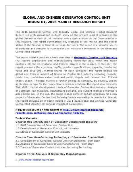 Generator Control Unit Market Analysis, Size, Share and Forecast 2021 Jun. 2016