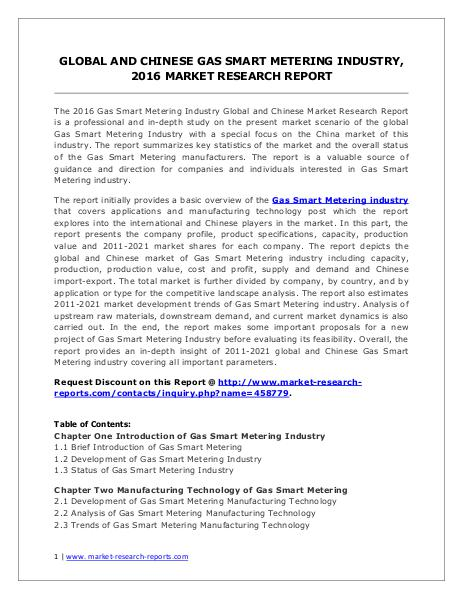 Gas Smart Metering Market Analysis and Forecasts 2016 to 2021 Jun. 2016