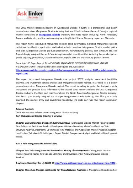 Manganese Dioxide Market Production, Statistics and Forecasts 2020 Feb. 2016