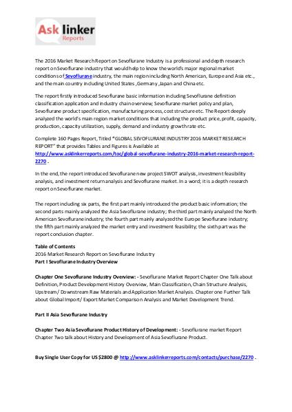 Sevoflurane Market Development Trends, Analysis and Forecasts to 2020 Feb. 2016