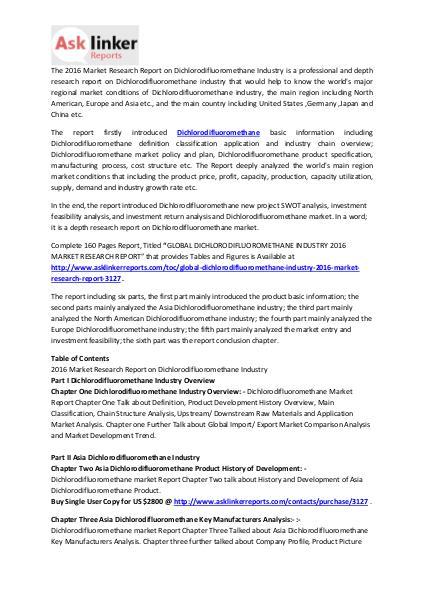 Dichlorodifluoromethane Market Analysis and Industry Forecasts 2020 Mar. 2016