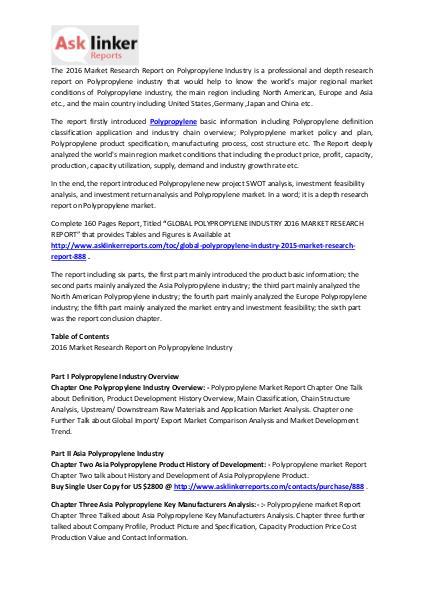 Polypropylene Market Development Analysis and Industry Forecasts 2020 Mar. 2016