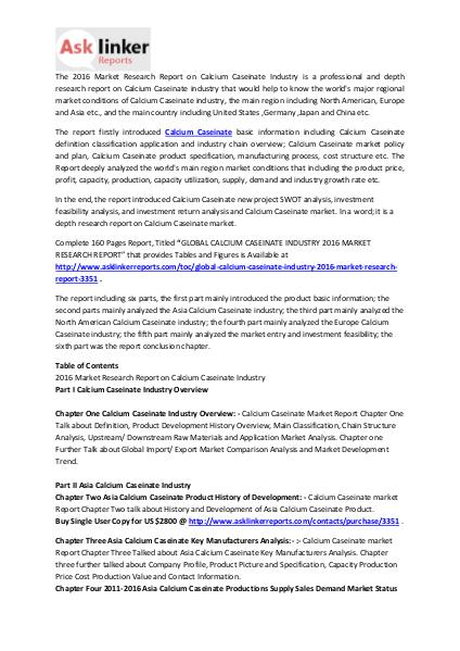 Calcium Caseinate Market Conditions 2016 and Industry Forecasts 2020 Mar. 2016