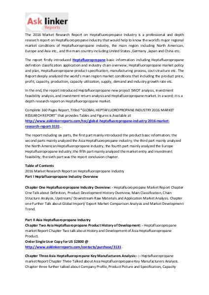 Heptafluoropropane Market Upstream Demands and Industry Forecast 2020 Mar. 2016