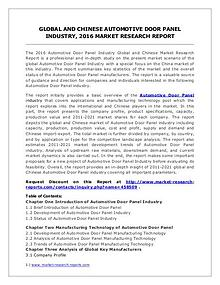 Automotive Door Panel Market Analysis and Industry Forecasts to 2020