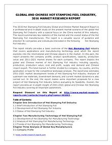 Hot Stamping Foil Market Trend and Industry Development Analysis 2016