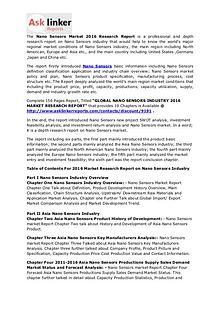 Nano Sensors Market Shares Analysis and Global Industry Forecast 2020