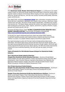 Aluminium Oxide Market Analysis 2016: Industry Demand & Forecast 2020