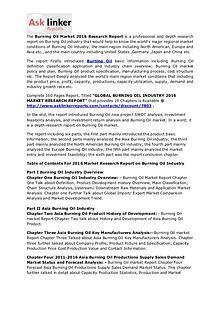 Burning Oil Market Demand, Status, Supply, Analysis & Forecasts 2020