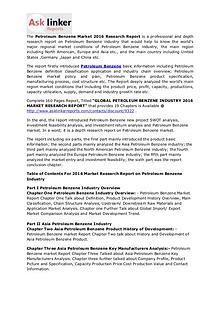 Petroleum Benzene Market 2011-2016 Analysis & Industry Forecasts 2020