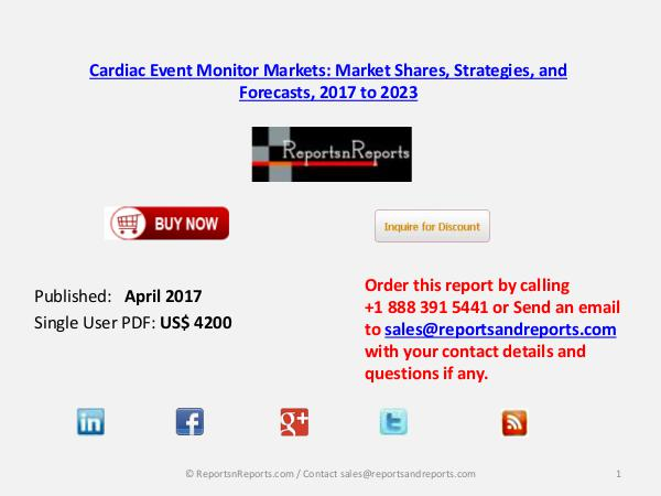 Cardiac Event Monitor Market Reach $4.8 billion by 2023 April 2017
