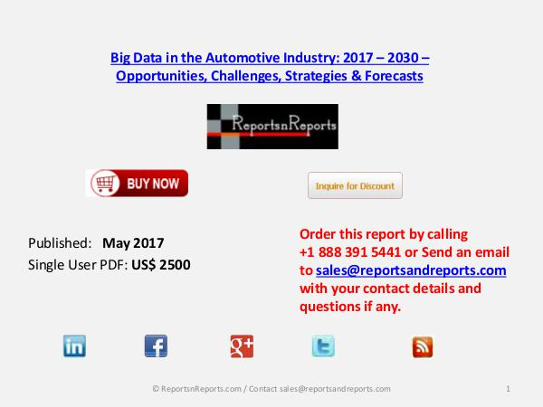 Big Data in the Automotive Market Analysis and Forecast 2030 May 2017