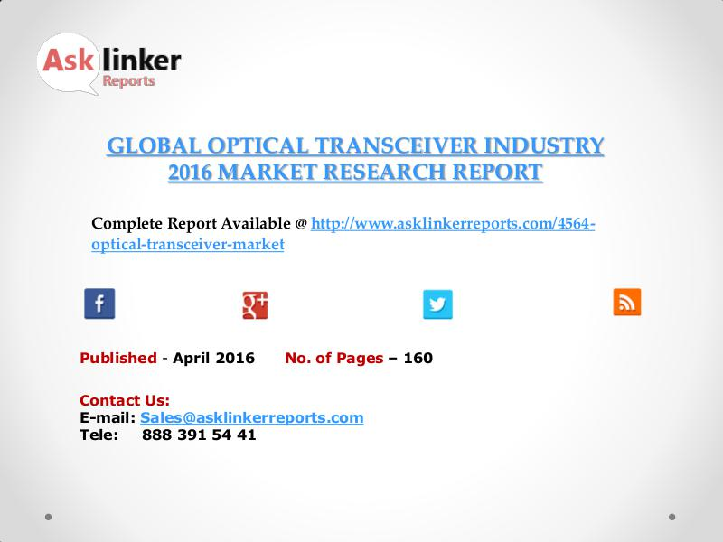 Optical Transceiver Industry Key Companies Market Share April 2016