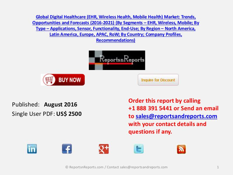Healthcare (EHR, Wireless Health and Mobile Health) Market August 2016