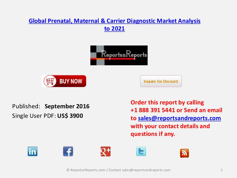Global Prenatal, Maternal & Carrier Diagnostic Market Sep 2016