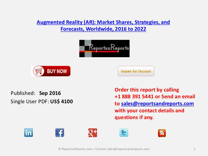 Augmented Reality (AR) Market Forecast to $80.8 billion by 2022 Sep 2016