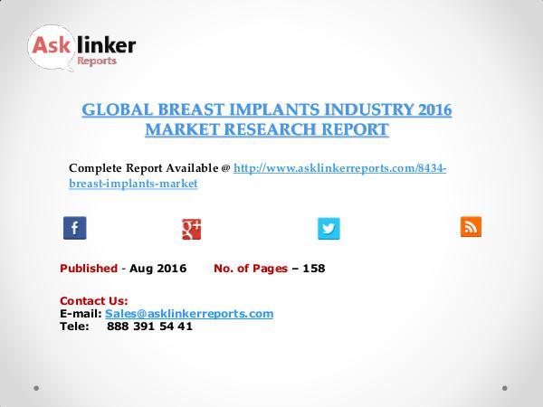 Global Breast Implants Market 2016-2020 Aug 2016