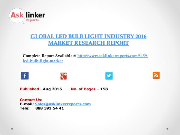Global LED Bulb Light Market 2016-2020 Report Aug 2016