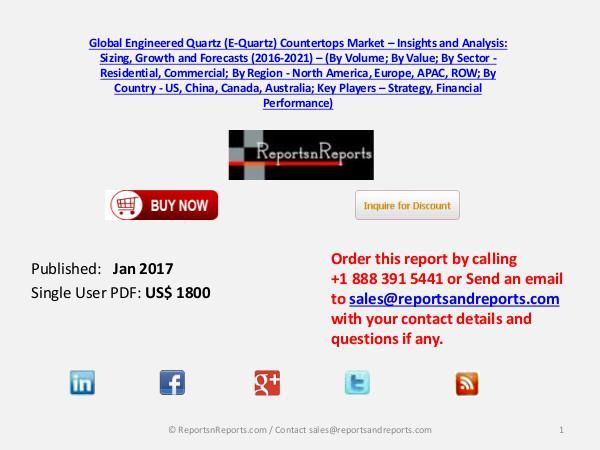 Engineered Quartz (E-Quartz) Countertops Market Jan 2017