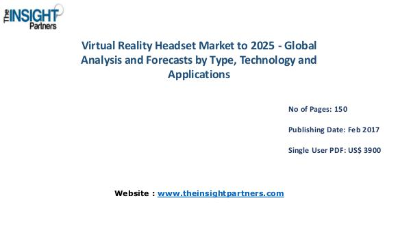 Virtual Reality Headset Market to 2025 - Global Analysis and Forecast Virtual Reality Headset Market to 2025