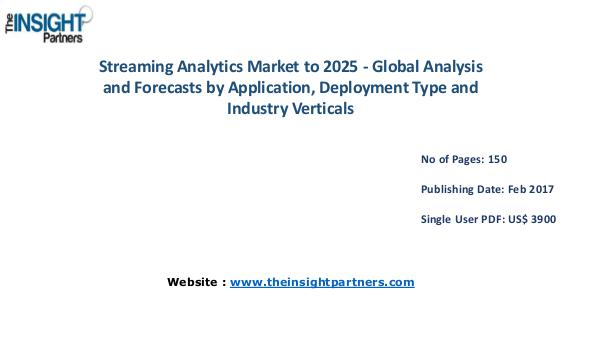Streaming Analytics Industry Overview, Key Developments Streaming Analytics Industry Overview, Key Develop
