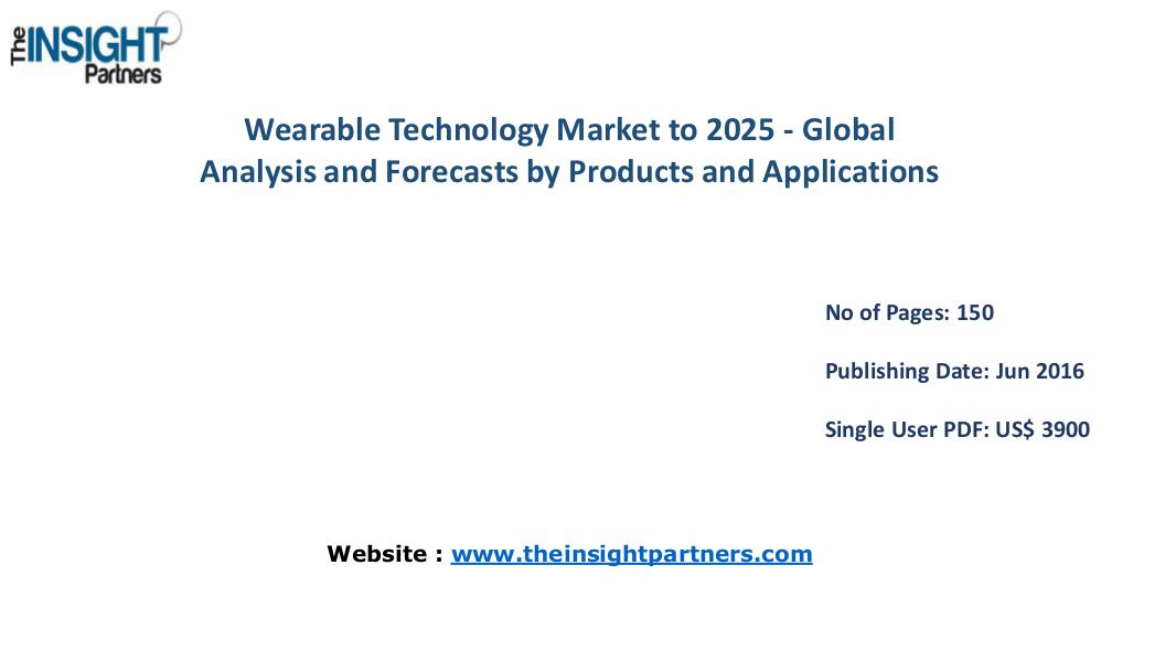Wearable Technology Market worth US $170.91 Bn by 2025– The Insight P Wearable Technology Market to Hit US $170.91 Bn by