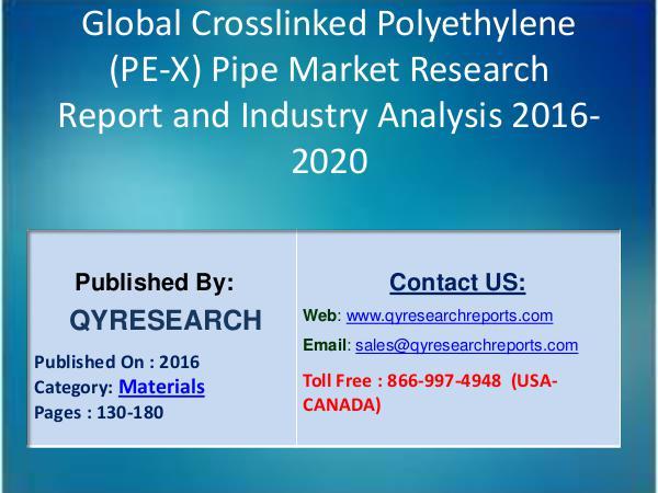 Research Report Crosslinked Polyethylene (PE-X) Pipe market