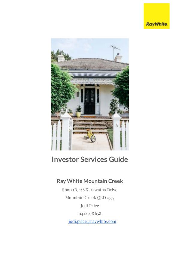 Investor Services Guide Ray White Mountain Creek 2017 2017