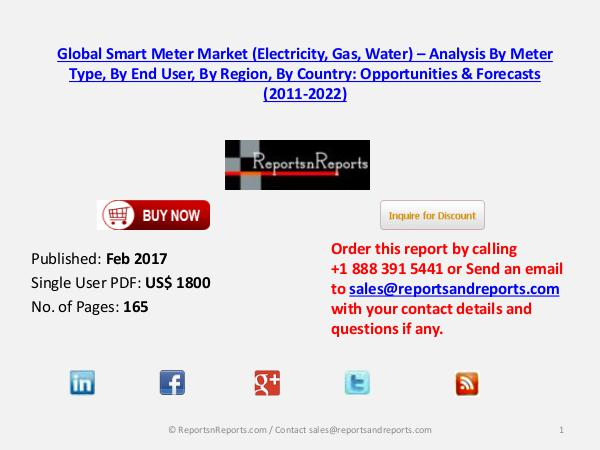 Smart Meter Market to Grow at CAGR of 6.23% during 2016 – 2021 Mar 2017