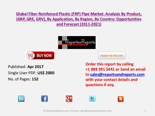 Fiber Reinforced Plastic (FRP) Pipe Market to Grow at 3% CAGR Apr 2017