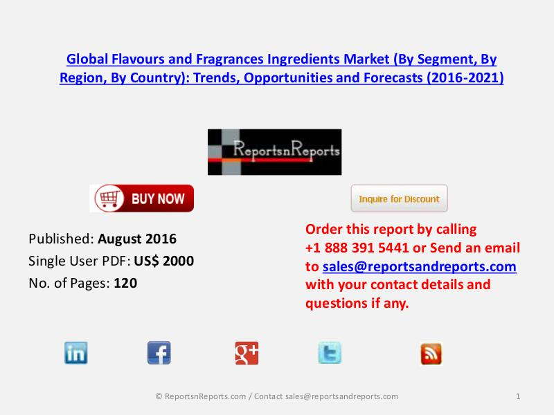 Flavours and Fragrances Ingredients Market to Rise at Increased Rate Aug 2016