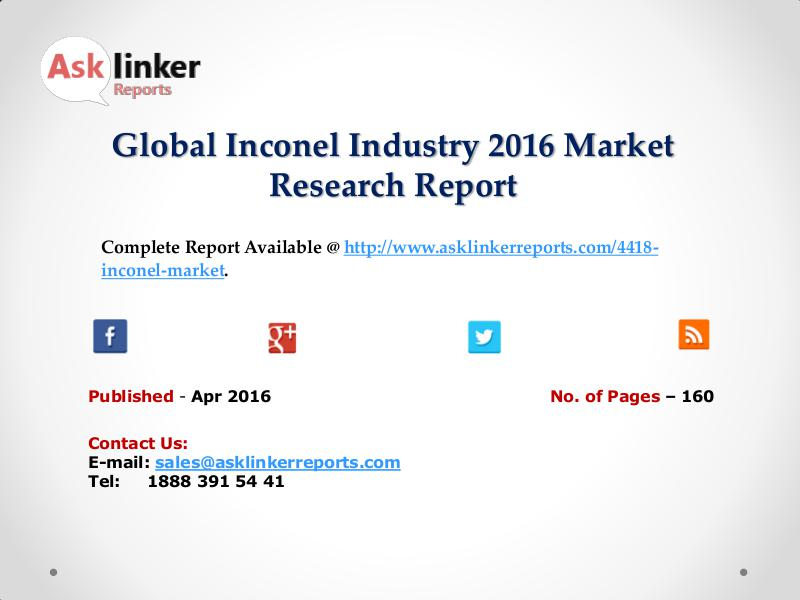Inconel Market Analysis of Key Manufacturers with Company Profile Apr 2016