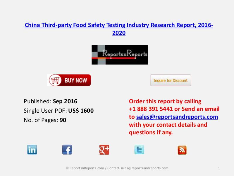 Development of China Third-party Food Safety Testing Market 2016 Sep 2016