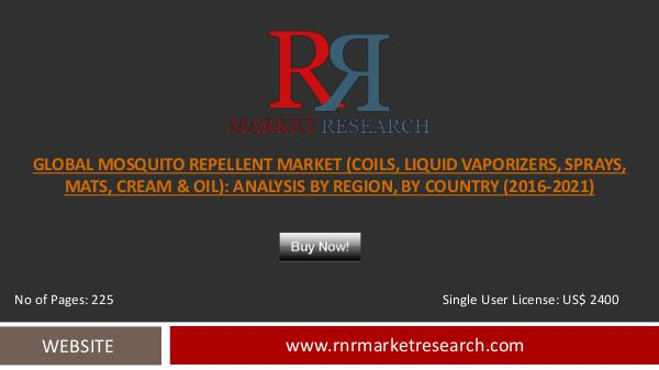 Mosquito Repellent Market Growing at 5.21% CAGR During 2016 – 2021F Dec 2016