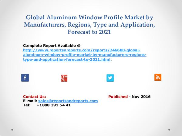 Aluminum Window Profile Market Size Analysis by North America, Europe Nov 2016