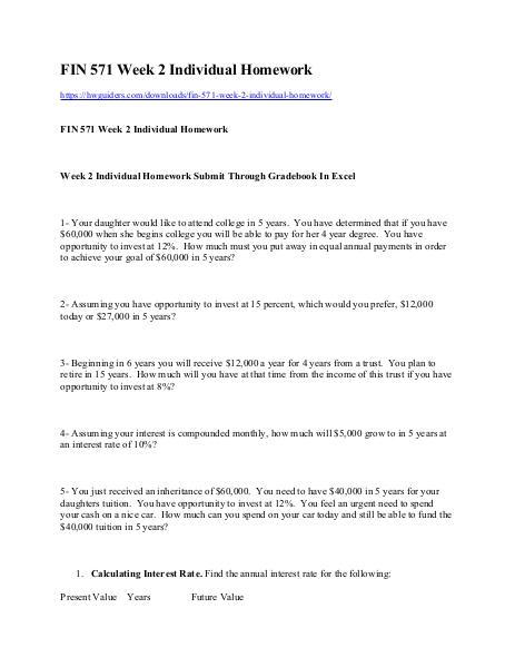 FIN 571 Week 2 Individual Homework ual Homework