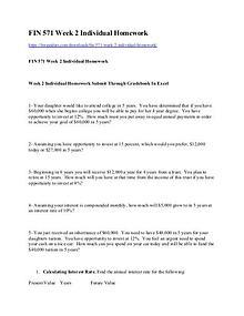 FIN 571 Week 2 Individual Homework