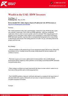 UAE Wealth Market Research Report : High Net Worth (HNW) Investors