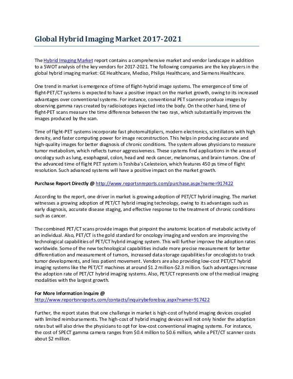 Global Outlook of the Hybrid Imaging Market Feb-2017
