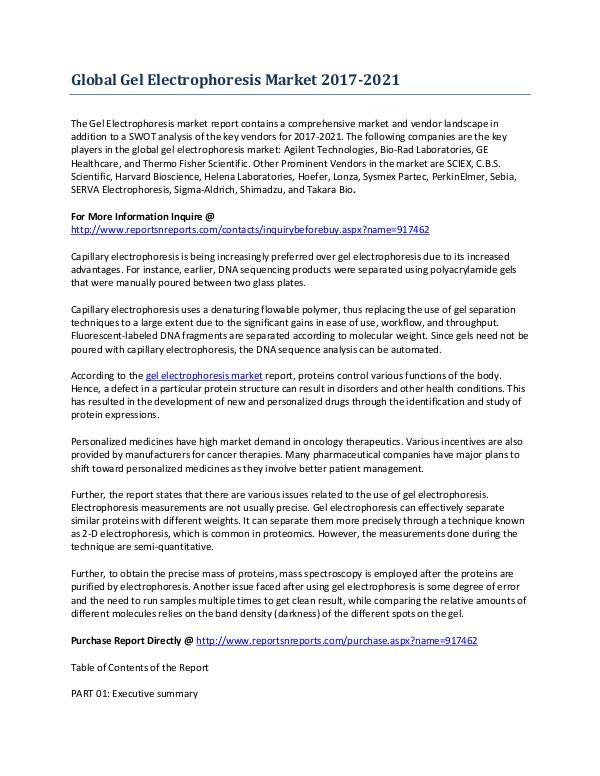 Gel Electrophoresis Market to Growth Rate Analysis Feb-2017