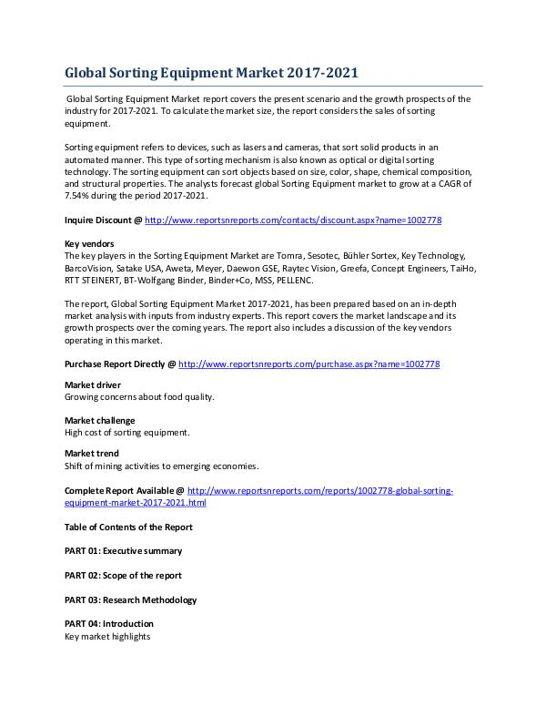 Global Sorting Equipment Market During Analysis 2017-2021 May 2017