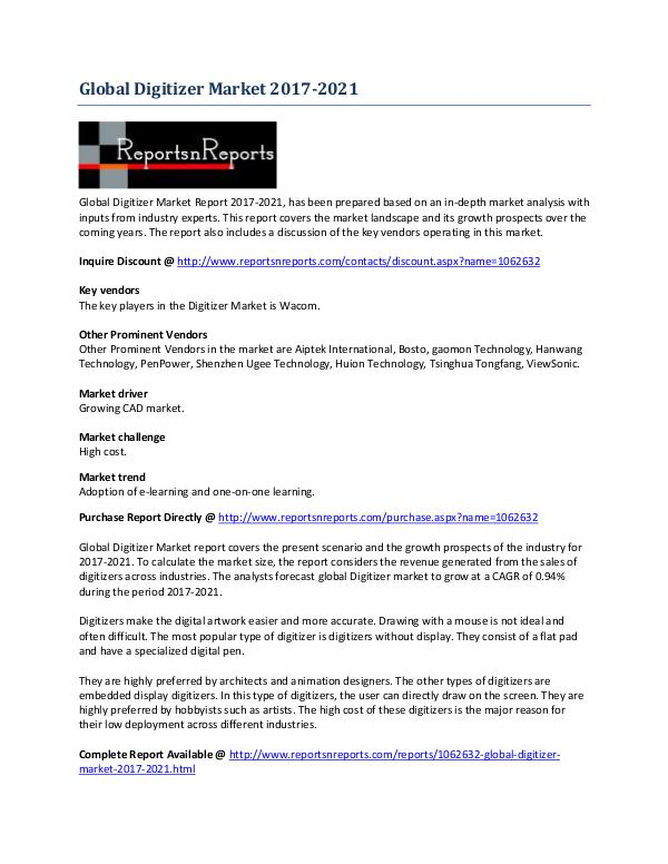 Digitizer Market Universal Development Outlook 2017-2021 June 2017