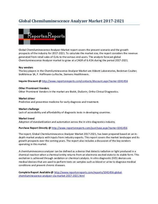 2021 Global Chemiluminescence Analyzer Market Research Analysis June 2017