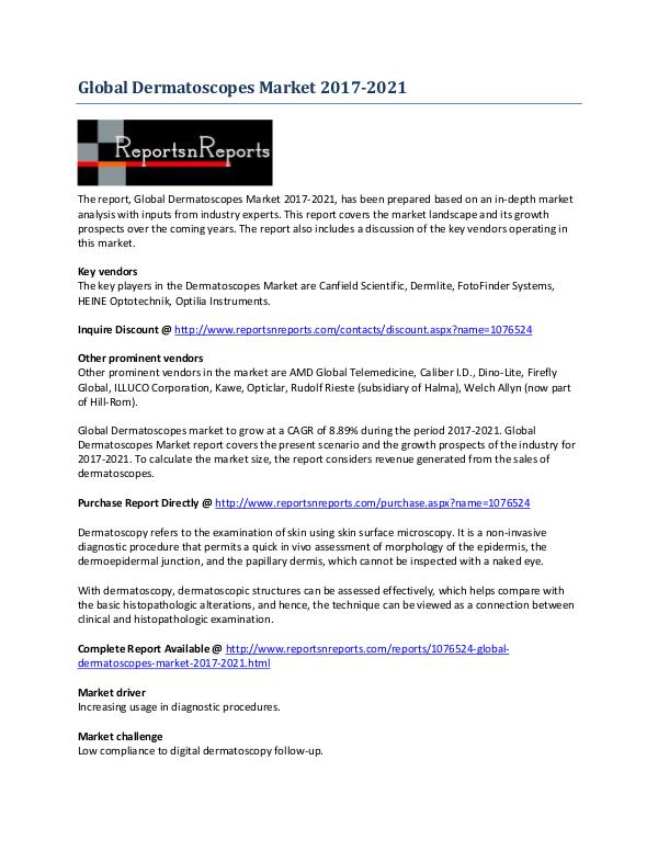 Dermatoscopes Market Global Growth Prospects 2017-2021 June 2017