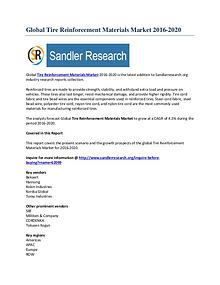 Worldwide Analysis of Tire Reinforcement Materials Market by 2020