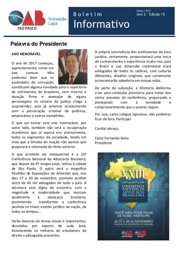 Boletim Informativo OAB Lapa Edição 15 - Março 2017
